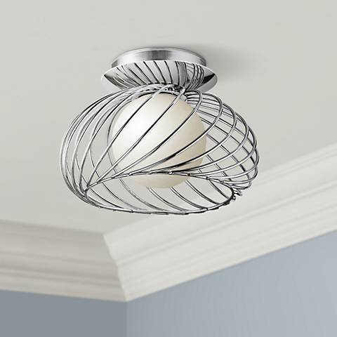 "Eglo Thebe 8"" Wide Opal Frosted Glass Ceiling Light"