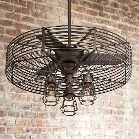 "32"" Vintage Breeze 3-Light Bendlin Cage Ceiling Fan"