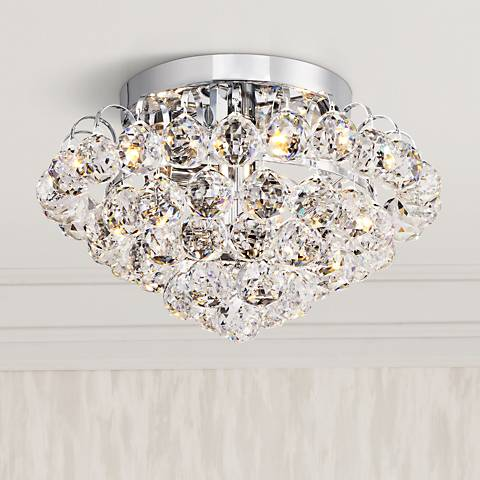 "Velour Chrome 12"" Wide Clear Crystal Ceiling Light"