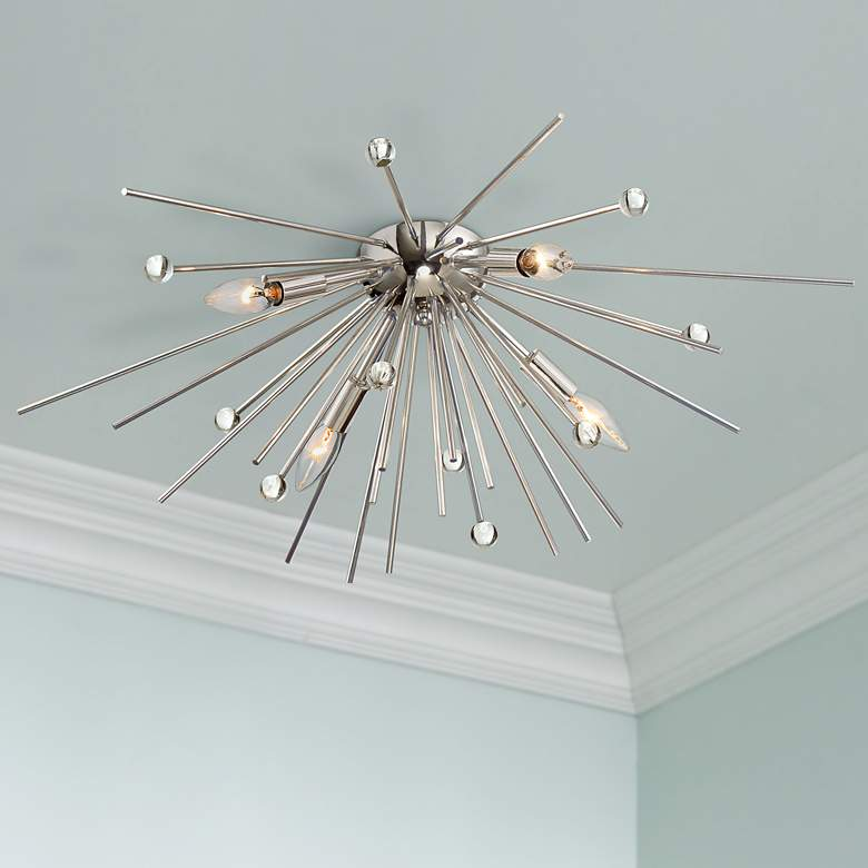 "Possini Euro Janae 29"" Wide Polished Nickel Ceiling"