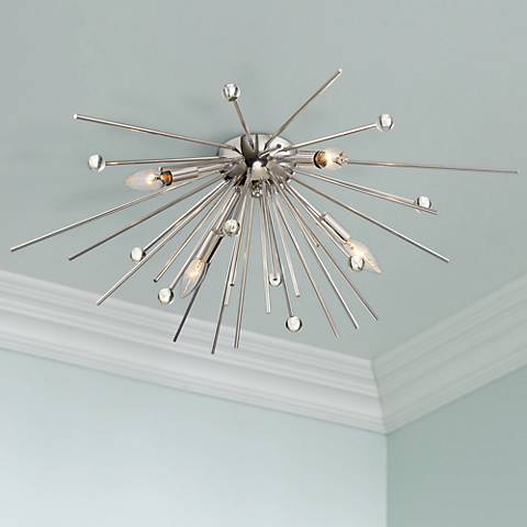 "Possini Euro Ranae 29"" Wide Polished Nickel Ceiling Light"