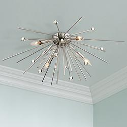 "Possini Euro Janae 29"" Wide Polished Nickel Ceiling Light"