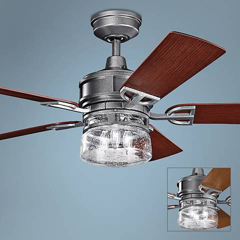 "52"" Lyndon Patio Weathered Steel Outdoor Ceiling Fan"