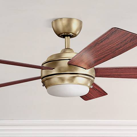 "52"" Kichler Starkk Natural Brass Ceiling Fan"