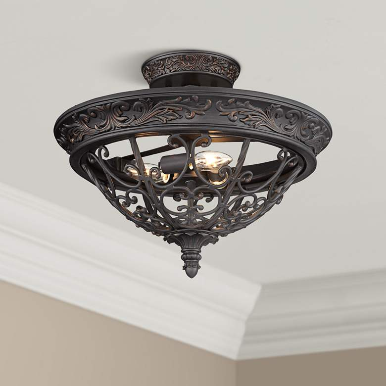 "French Scroll 16 1/2"" Wide Rubbed Bronze Ceiling"