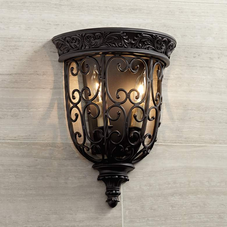 "French Scroll 14 1/4"" High Rubbed Bronze Wall Sconce"