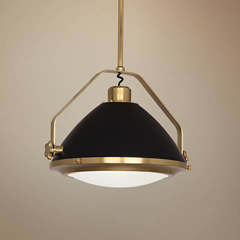 "Robert Abbey Apollo 21 3/4""W Brass and Black Pendant Light"