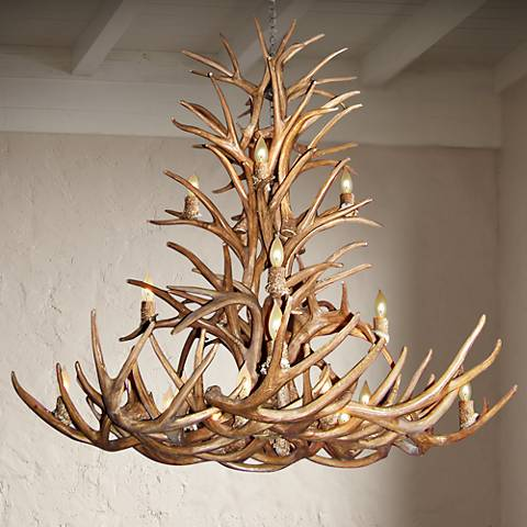 "Reproduction Deer Antler 50-52"" Wide 16-Light Chandelier"