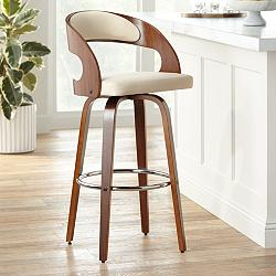 "Shelly 30"" Cream Faux Leather Swivel Bar Stool"