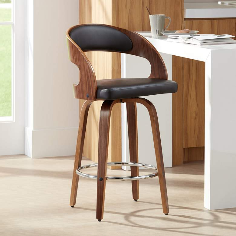 "Shelly 25 3/4"" Brown Faux Leather Swivel Counter Stool"
