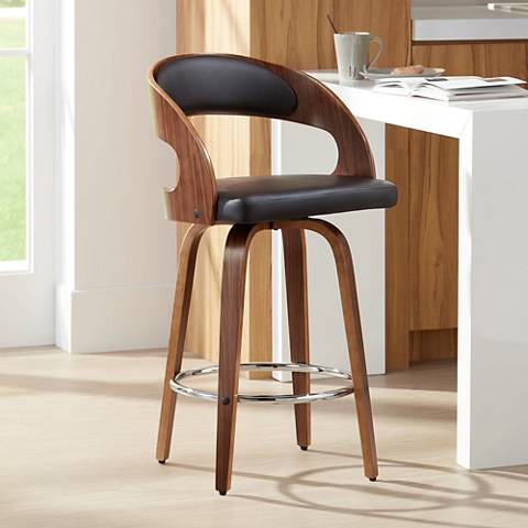 "Shelly 26"" Brown Faux Leather Swivel Counter Stool"