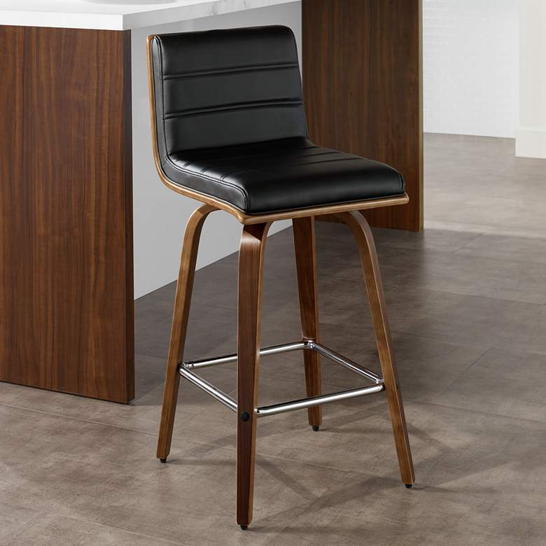 Awe Inspiring Vienna 25 1 4 Black And Walnut Swivel Counter Stool Squirreltailoven Fun Painted Chair Ideas Images Squirreltailovenorg
