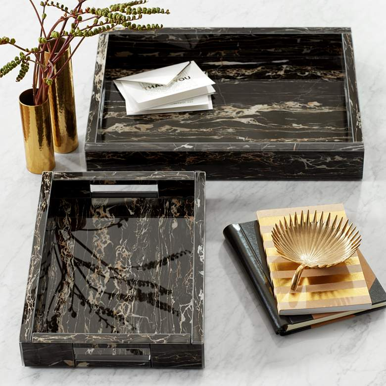 "Gilling 16"" Wide Modern Luxe Marbled Serving Trays"