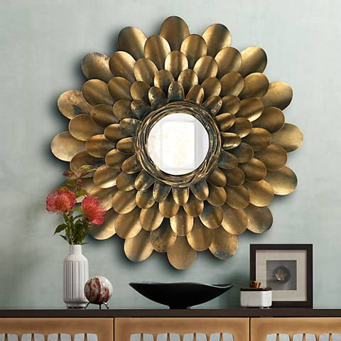 "Jamie Young Bouquet Antique Brass 36"" Round Wall Mirror"