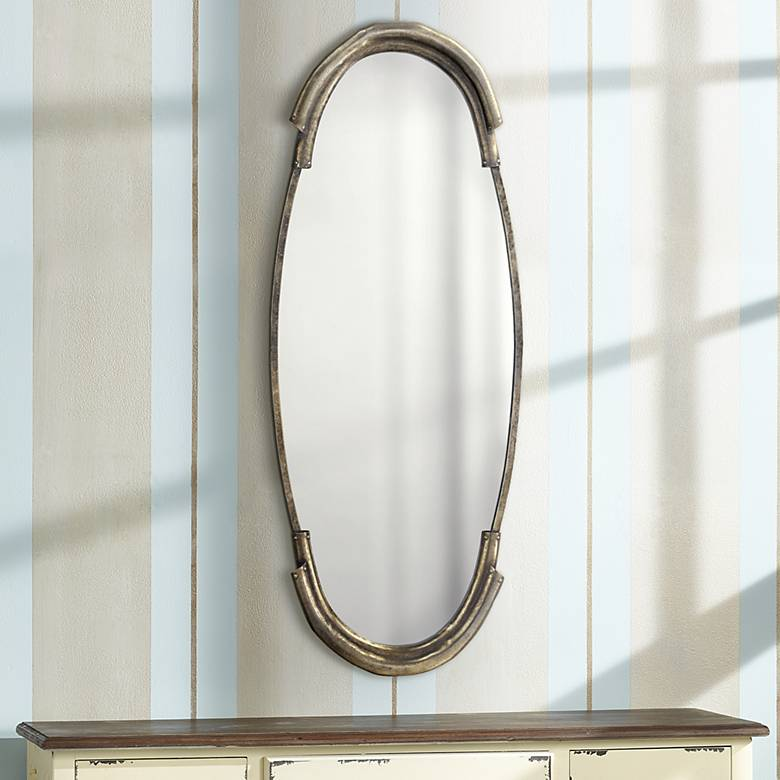 "Jamie Young Margaux Silver 17"" x 45"" Oval Wall Mirror"