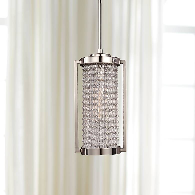 "Struttura 7 1/2"" Wide Polished Nickel Mini Pendant Light"