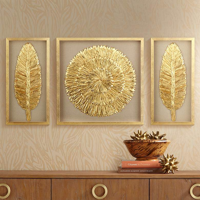 "Golden Feathers 31 1/2"" High Wall Art Set of 3"