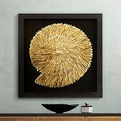 "Nautilus Feathers Gold 31 1/2"" Square Wall Art"