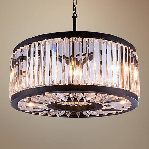 "Chelsea Mocha Brass 28"" Wide Crystal Pendant Light"