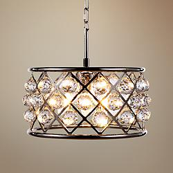 "Madison 16"" Wide Crystal Polished Nickel Pendant Light"