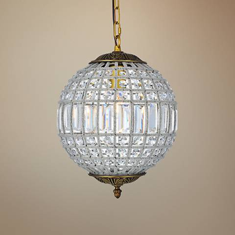 "Olivia French Gold 12 1/4"" Wide Crystal Pendant Light"