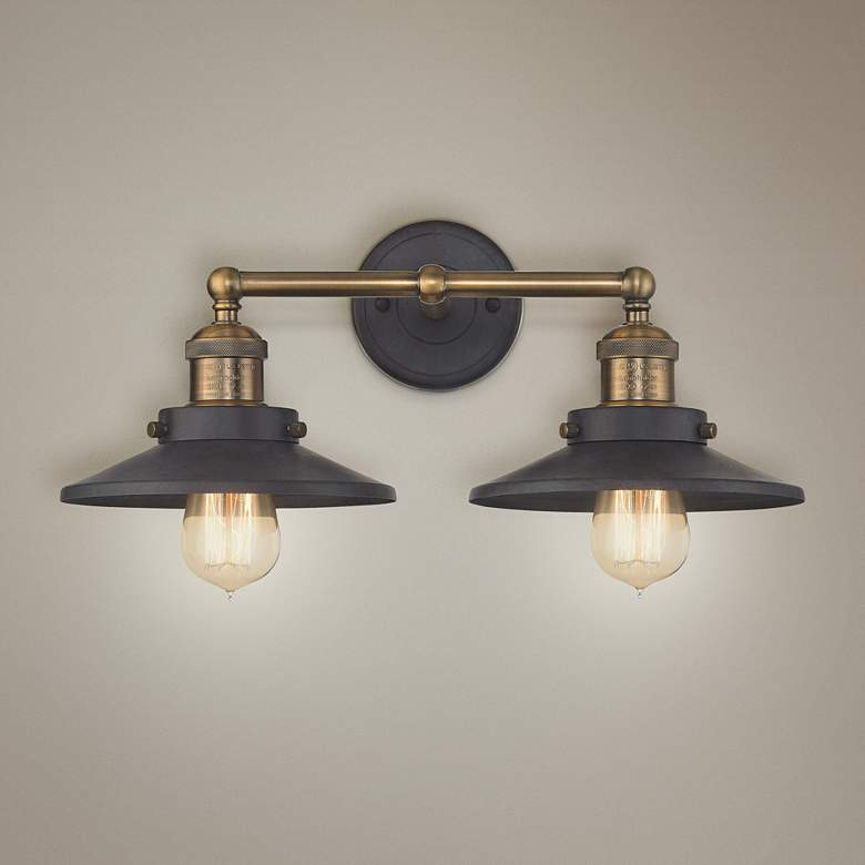 "English Pub 18""W Brass and Tarnished Graphite Bath Light"