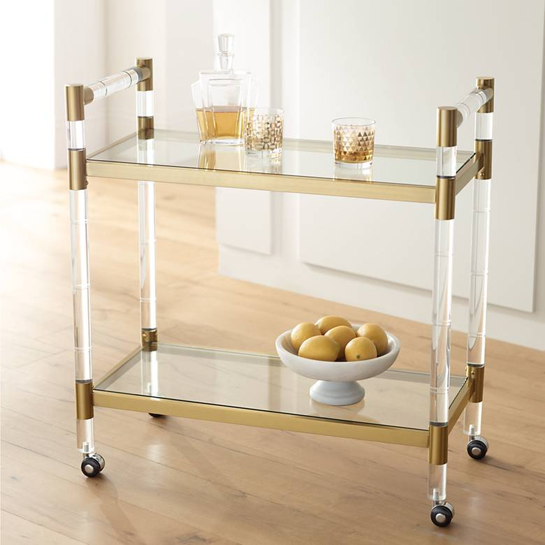 "Adele 31 1/2"" Clear Acrylic and Gold Rectangular Bar Cart"