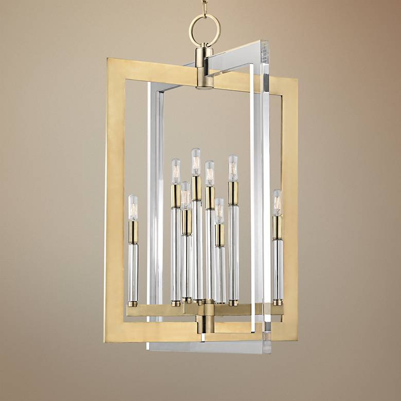 "Hudson Valley Wellington 23"" Wide Aged Brass Pendant Light"