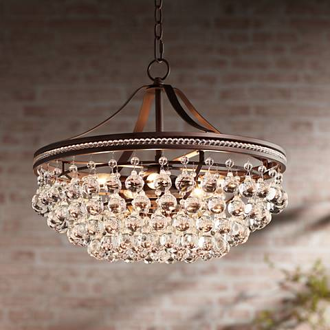 "Wohlfurst 20 1/4""W Bronze 5-Light Crystal Pendant Light"