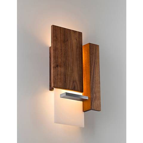 "Vesper 15""High Brushed Aluminum Oiled Walnut LED Wall Sconce"