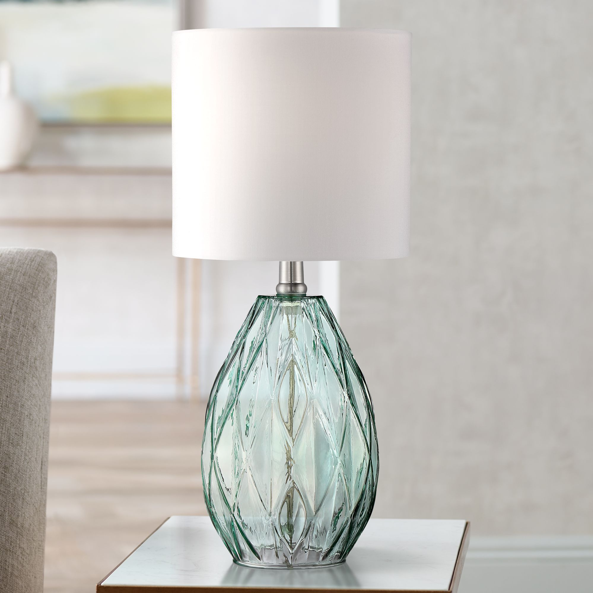 Rita Blue Green Glass Accent Table Lamp