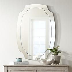 "Pajaro Black 27 1/2"" x 39 1/2"" Oval Cut Wall Mirror"