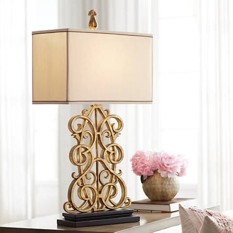 Jardin Gate Antique Gold Leaf Scroll Table Lamp