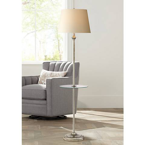 Dayton Satin Nickel Table Tray Floor Lamp with 9W LED Bulb