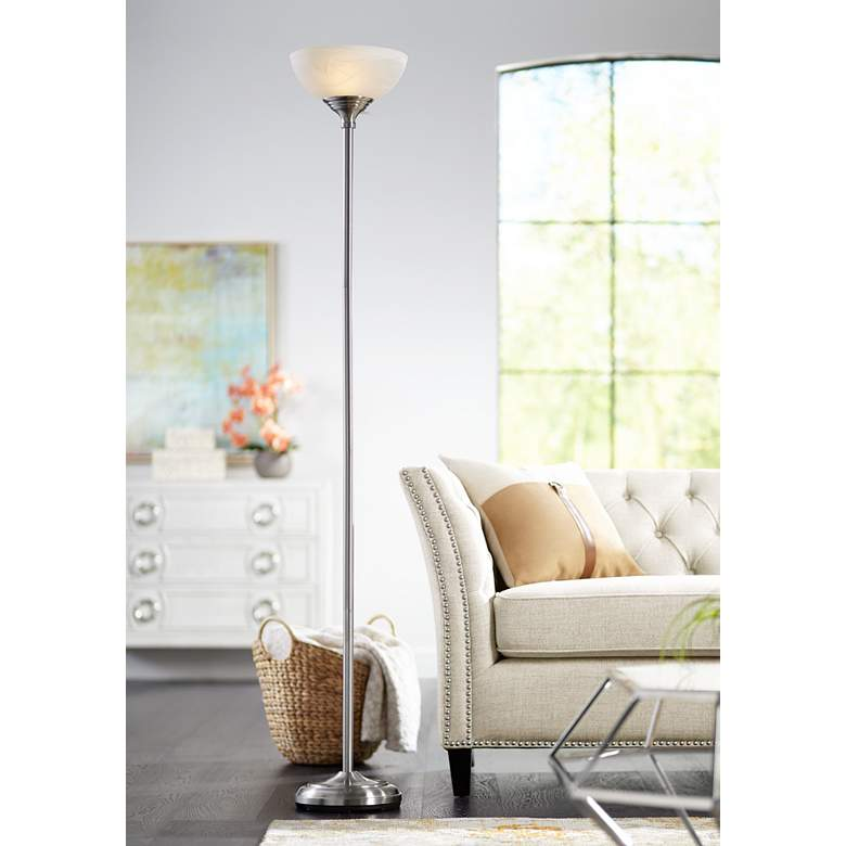 Maddox Satin Nickel Modern Torchiere Floor Lamp