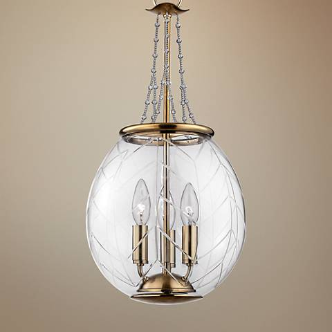 "Pierce 10 1/2"" Wide Aged Brass Clear Glass Mini Pendant"