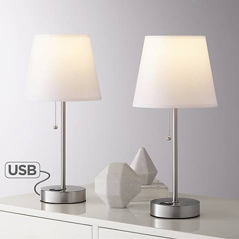 Justin Metal USB Accent Table Lamps Set of 2 with 9W LED Bulbs
