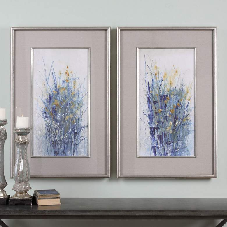 "Uttermost Indigo Florals 41 1/2""H Framed Wall Art Set of 2"