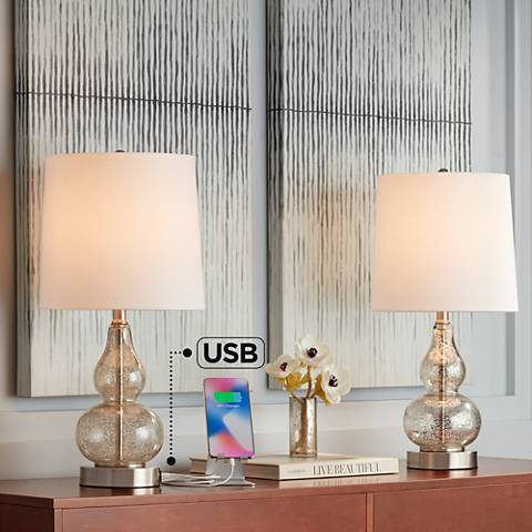 Castine Mercury Glass Table Lamps with USB Port Set of 2