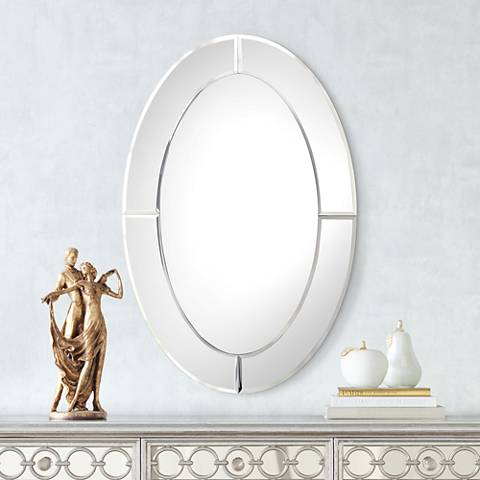 "Carlita Beveled 23 3/4"" x 36"" Oval Frameless Mirror"