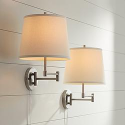 Oray Brushed Nickel Swing Arm Wall Lamp Set of 2