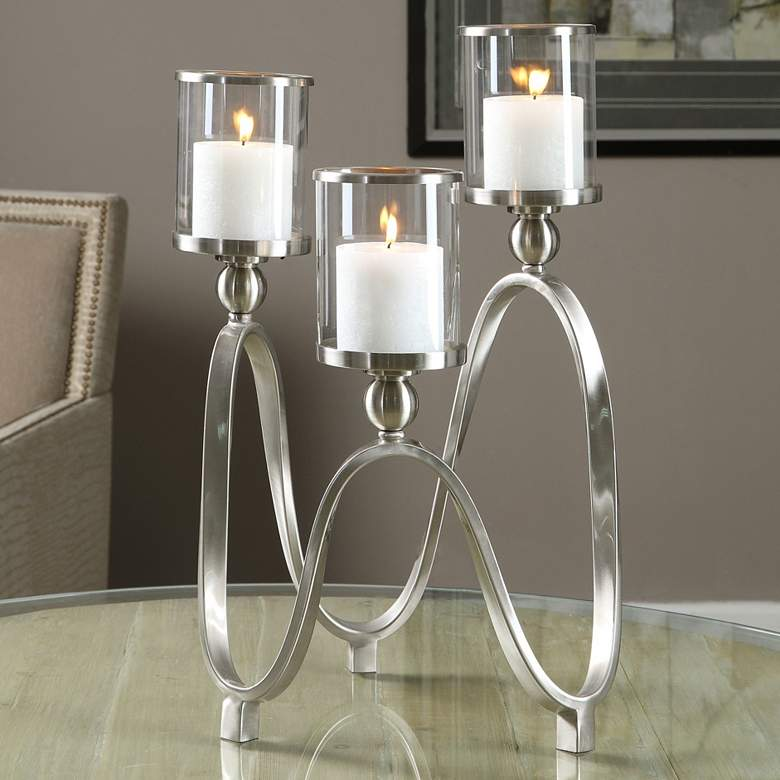 "Akiro 12 1/2"" Wide Nickel Ribbon 3-Globe Glass Candle Holder"
