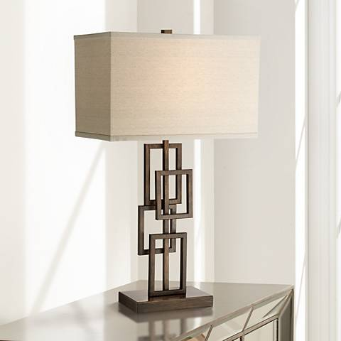 Kory Stacked Rectangles Bronze Table Lamp