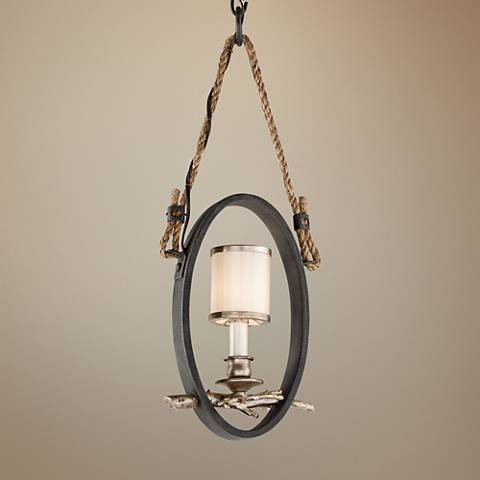 "Drift 5 3/4"" Wide Bronze with Silver Leaf Mini Pendant"