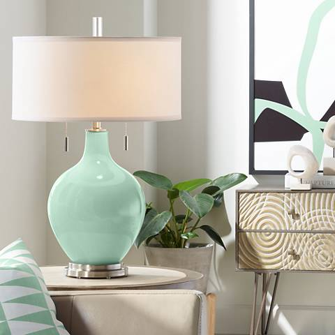 Grayed Jade Toby Table Lamp
