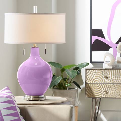 African Violet Toby Table Lamp