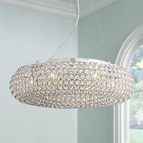 Konterra 24 Wide Chrome Crystal Pendant Light