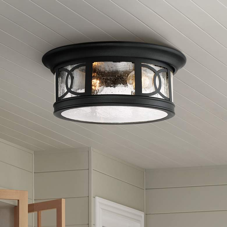 "Capistrano 12"" Wide Black 2-Light Outdoor Ceiling Light"