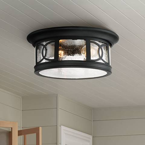 "Capistrano 12"" Wide Black Outdoor Ceiling Light"