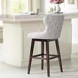 "Ariana Light Gray Fabric 29 1/2"" Swivel Barstool"